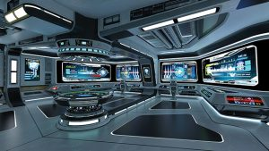Graphic: Hacker control room with futuristic computers and screens