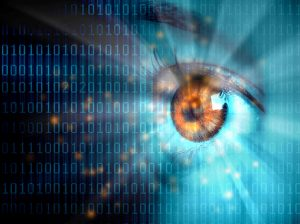 Graphic: woman's eye with binary background