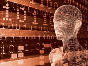 Graphic: futuristic rendering of woman with binary code in background