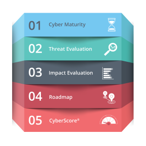 Five steps in the TripleHelix Cybersecurity Assessment System Infographic