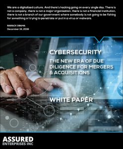 Cover Page for Mergers & Acquisitions White Paper. Cybersecurity: the new era of due diligence for mergers and acquisitions.
