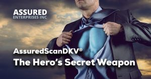 AssuredScanDKV deep software scanner graphic showing businessman ripping off shirt showing superhero outfit underneath