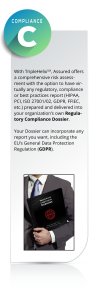 With TripleHelix, Assured offers a comprehensive risk assessment with the option to have virtually any regulatory, compliance or best practices report (HIPAA, PCI, ISO 27001/02, GDPR, FFIEC, etc.) prepared and delivered into your organization's own Regulatory Compliance Dossier. Your Dossier can incorporate any report you want, including the EU's General Data Protection Regulation (GDPR).