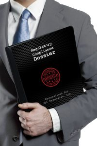 Man carrying a black folder with technology background with the words Regulatory Compliance Dossier and Confidential on the cover
