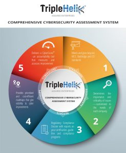 Colorful Wheel graphic showing the TripleHelix Framework and how it meets and exceeds the EO and NIST CSF