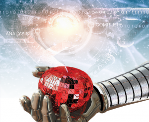 Cyber Risk Beyond Compliance - Article Header showing robotic hand holding robotic apple