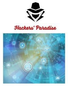 Graphic showing masked hacker above a wireless landscape of various connected devices in the Internet of Things (IoT)