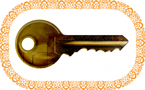 Golden Key graphic with border