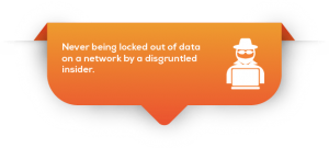 Tab-Never being locked out of data on a network by a disgruntled insider.