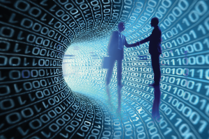 two people shaking hands in tunnel made of binary code